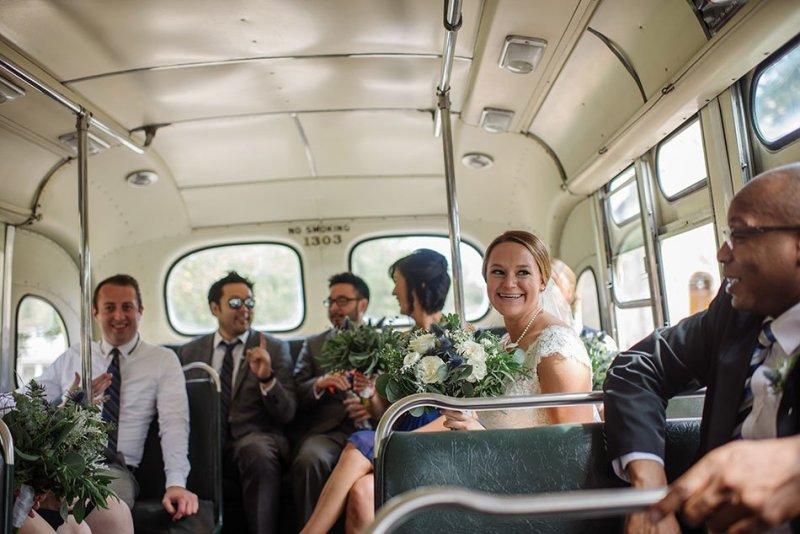 vintage bus Stillwater Historic Courthouse Wedding mn