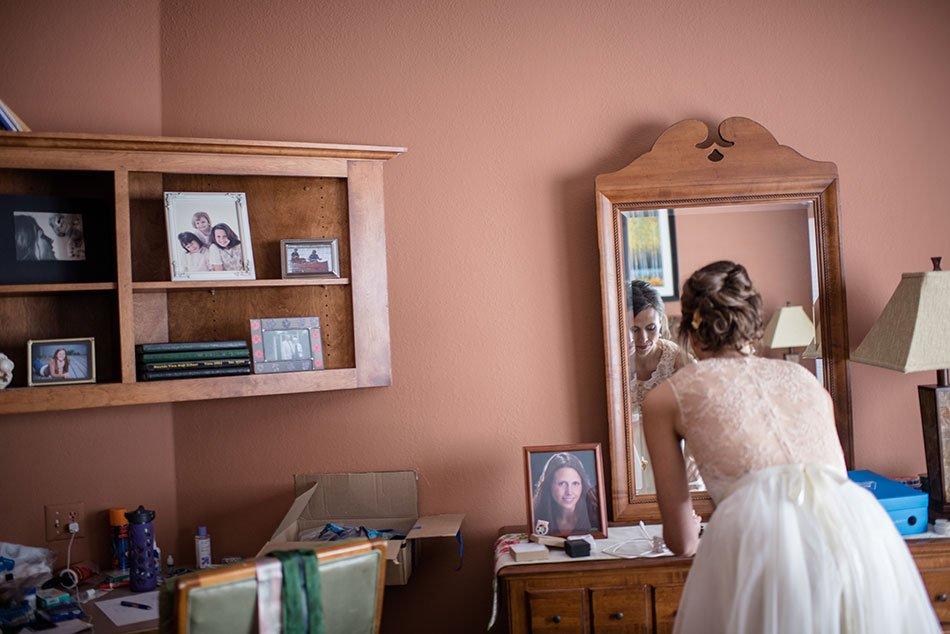 bride in childhood home White Bear Lake Backyard Wedding