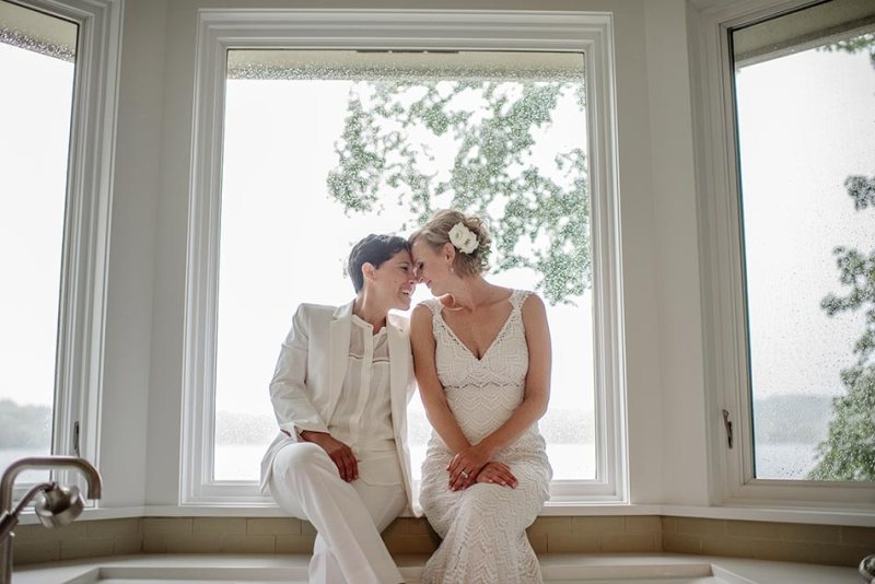 stylish same sex couple wedding mn