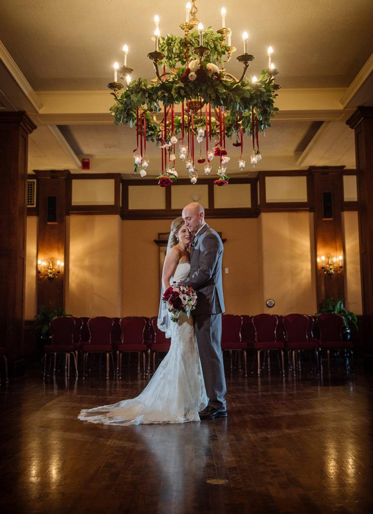 floral chandelier Wedding at Minneapolis Club