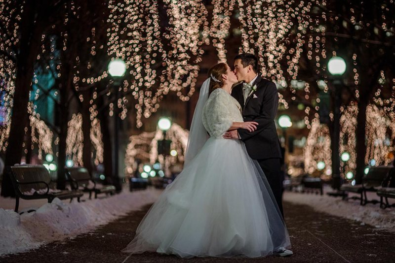 rice park at night St Paul Hotel winter wedding mn