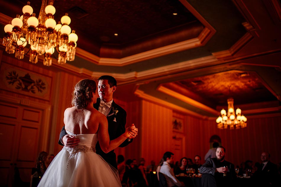 dramatic first dance St Paul Hotel winter wedding mn