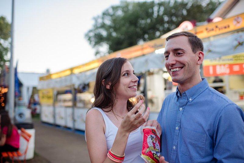 mini donuts Minnesota State Fair engagement photos