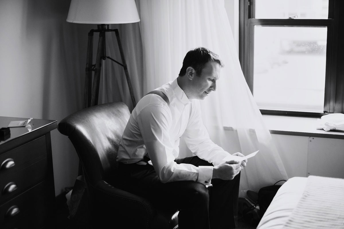 groom reading note at commons hotel minneapolis