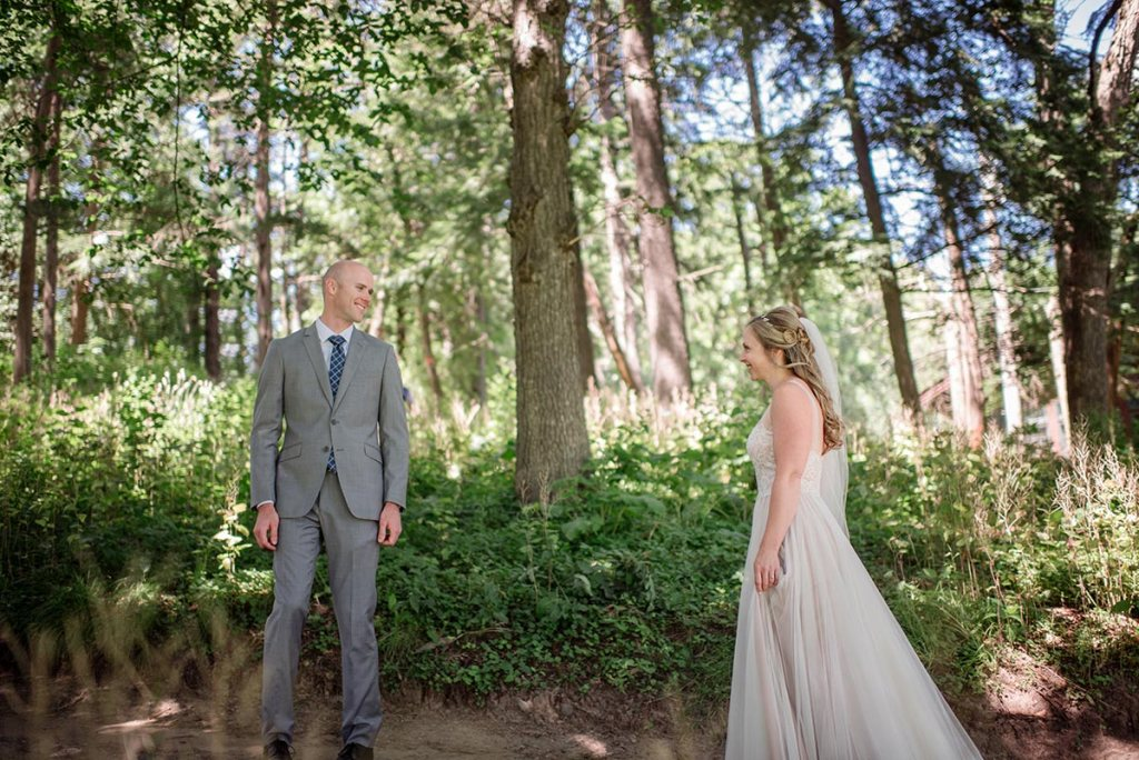 bride and groom see each other Outdoor Minneapolis Wedding