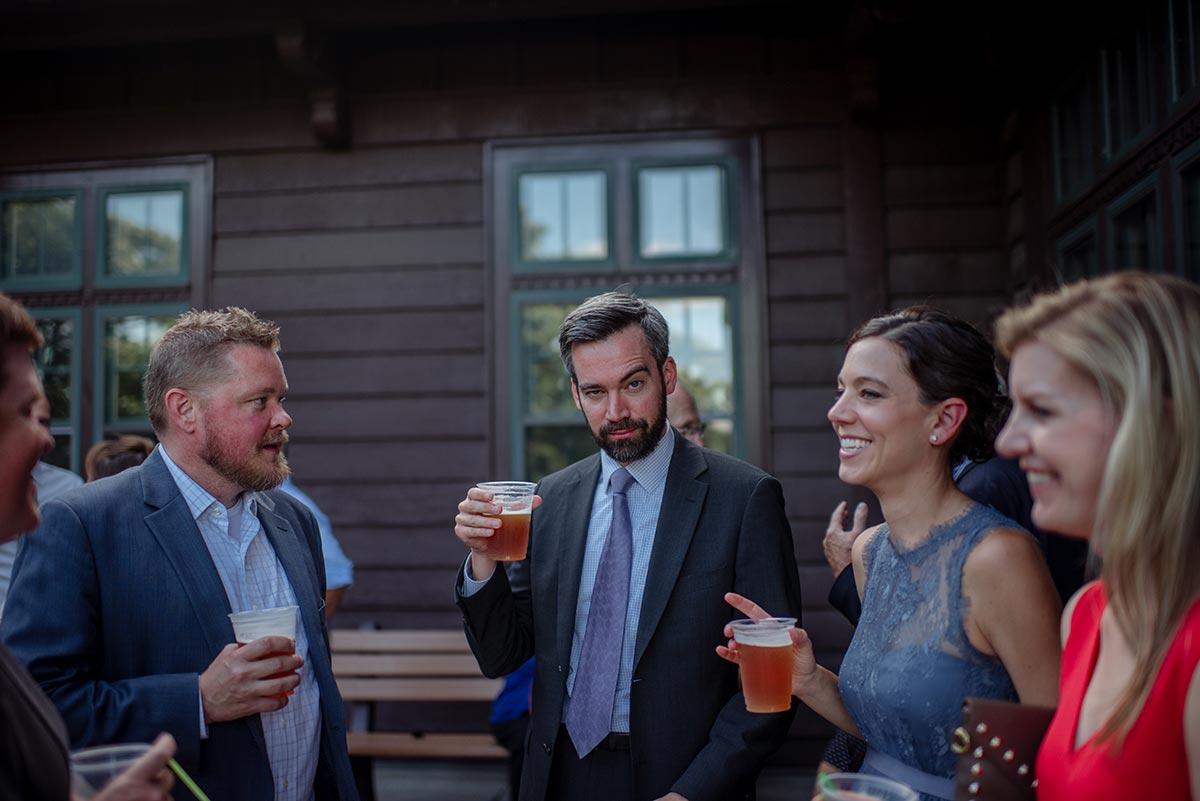 cocktail hour arch eyebrow Outdoor Minneapolis Wedding