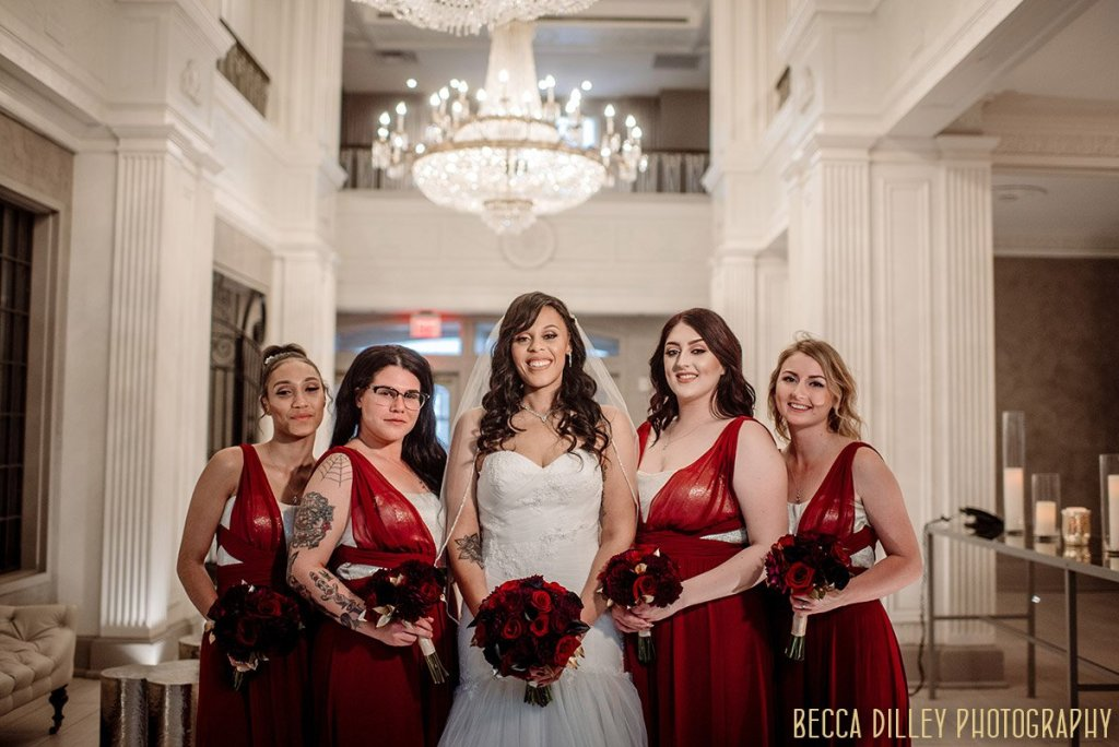 St Louis wedding bridesmaids in red dresses