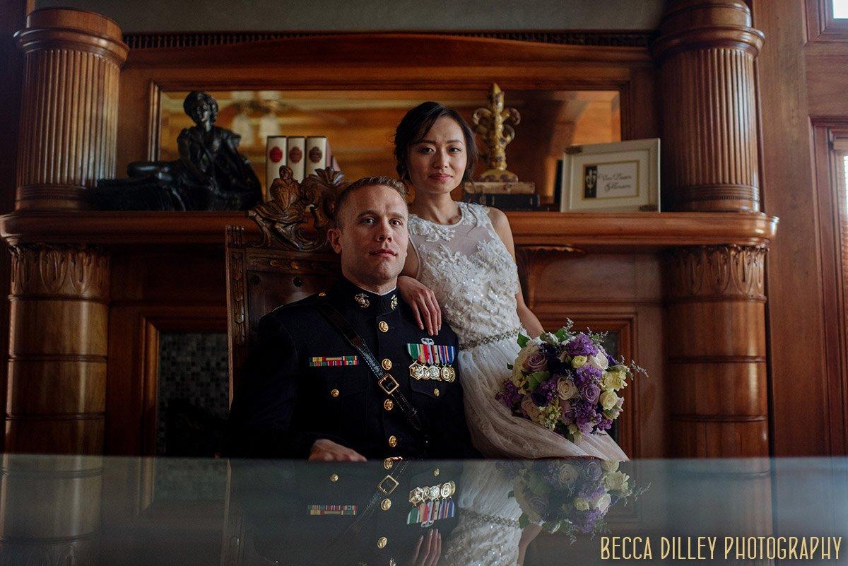 bride and groom inside Van Dusen Mansion Wedding Minneapolis