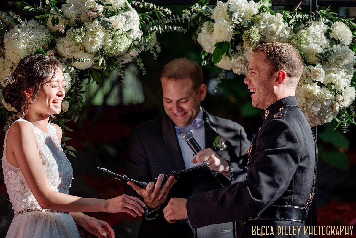 ceremony in garden of Van Dusen Mansion Wedding Minneapolis