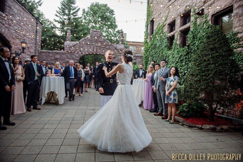 first dance on outdoor patio of van dusen mansion minneapolis