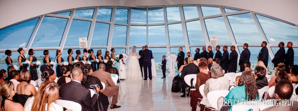 ceremony panorama Milwaukee art museum wedding