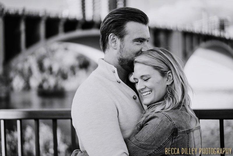 engagement photo by Minneapolis bridges