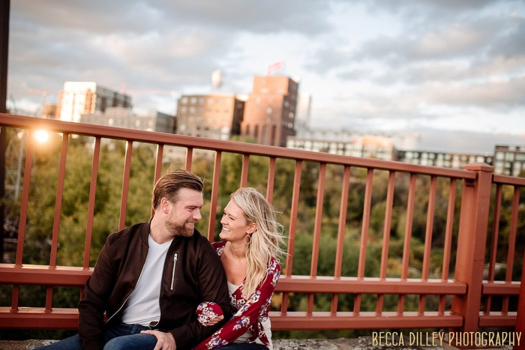 windy day engagement photos
