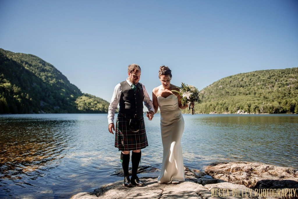 couple A destination wedding by Acadia National Park in Maine