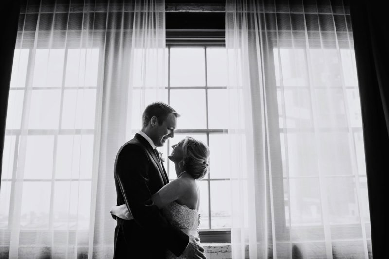 bride and groom in silhouette at Machine shop wedding minneapolis