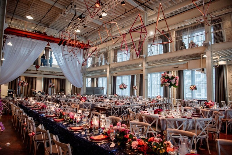 A wide shot of the wedding reception