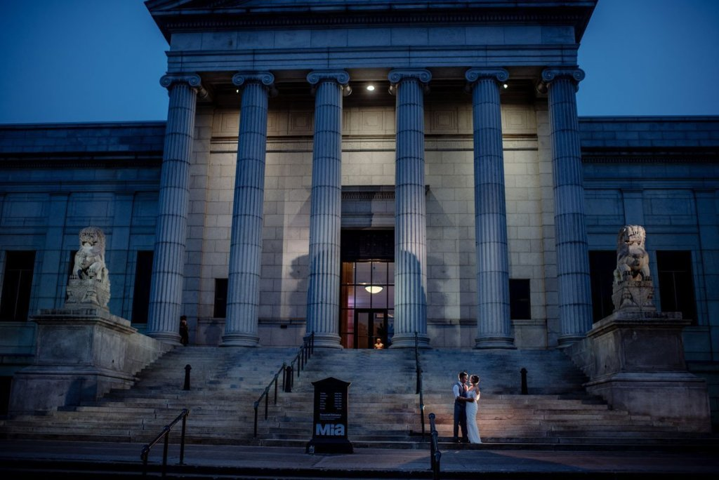 dramatic blue portrait outside Minneapolis Institute of Art wedding