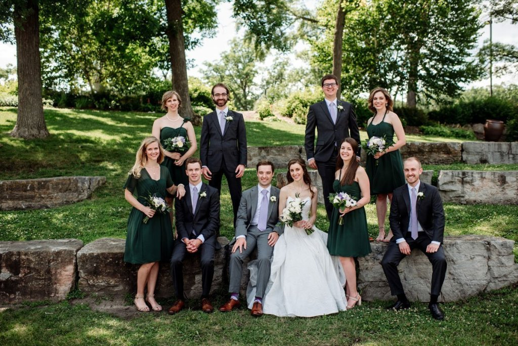 Wedding party on stones at silverwood park wedding mn
