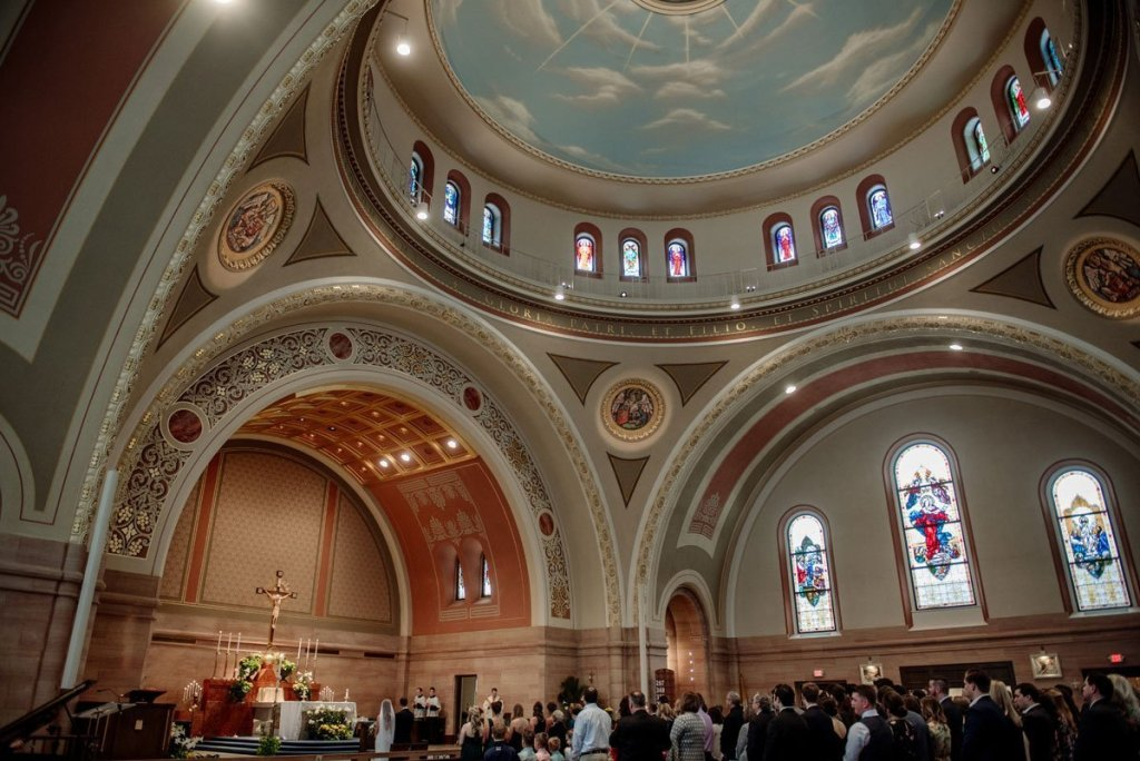panorama of interior of wedding ceremony with vaulted ceiling