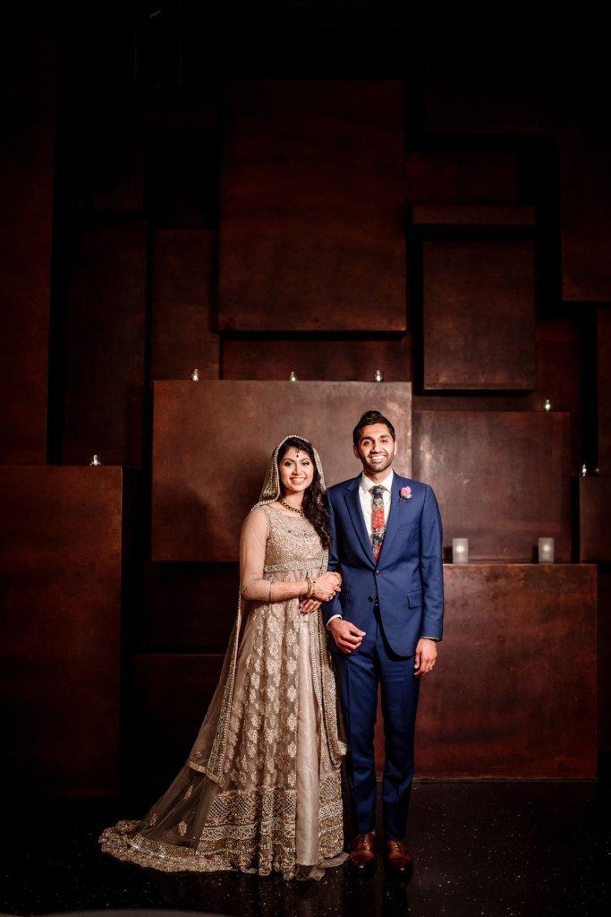 Couple at Muslim Pakistani wedding at McNamara Center in Minneapolis