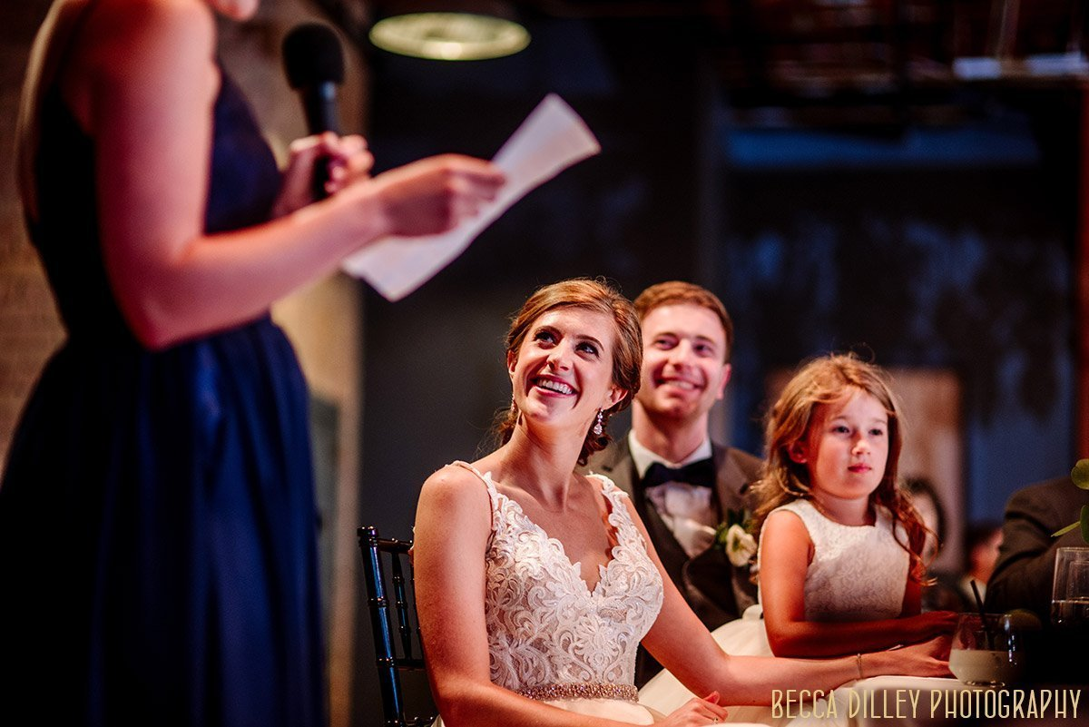 toasts to the bride and groom from maid of honor  solar arts wedding reception