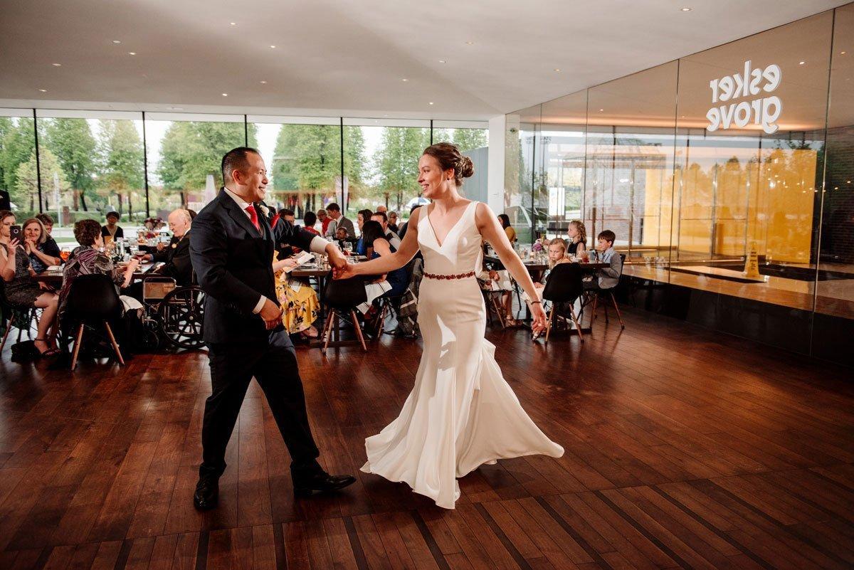 sharing a first dance esker grove wedding at the walker art center minneapolis