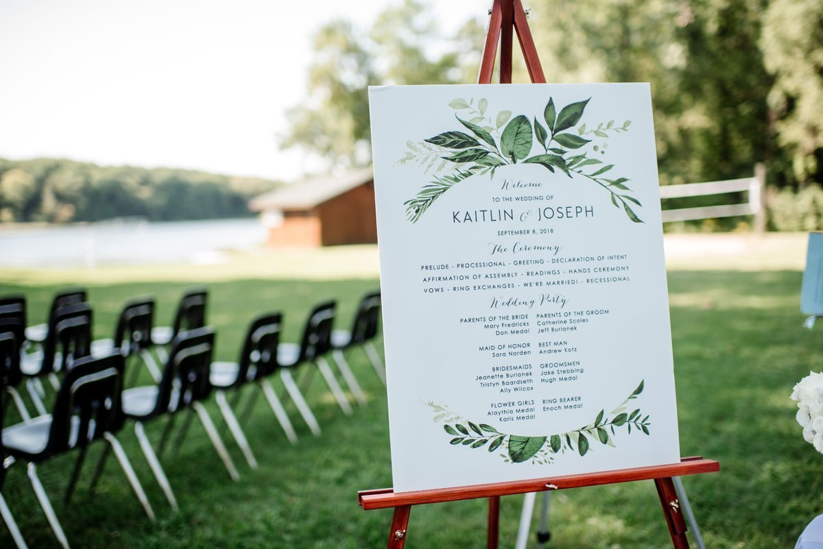 ceremony program on stand voyageur wedding environmental center mn