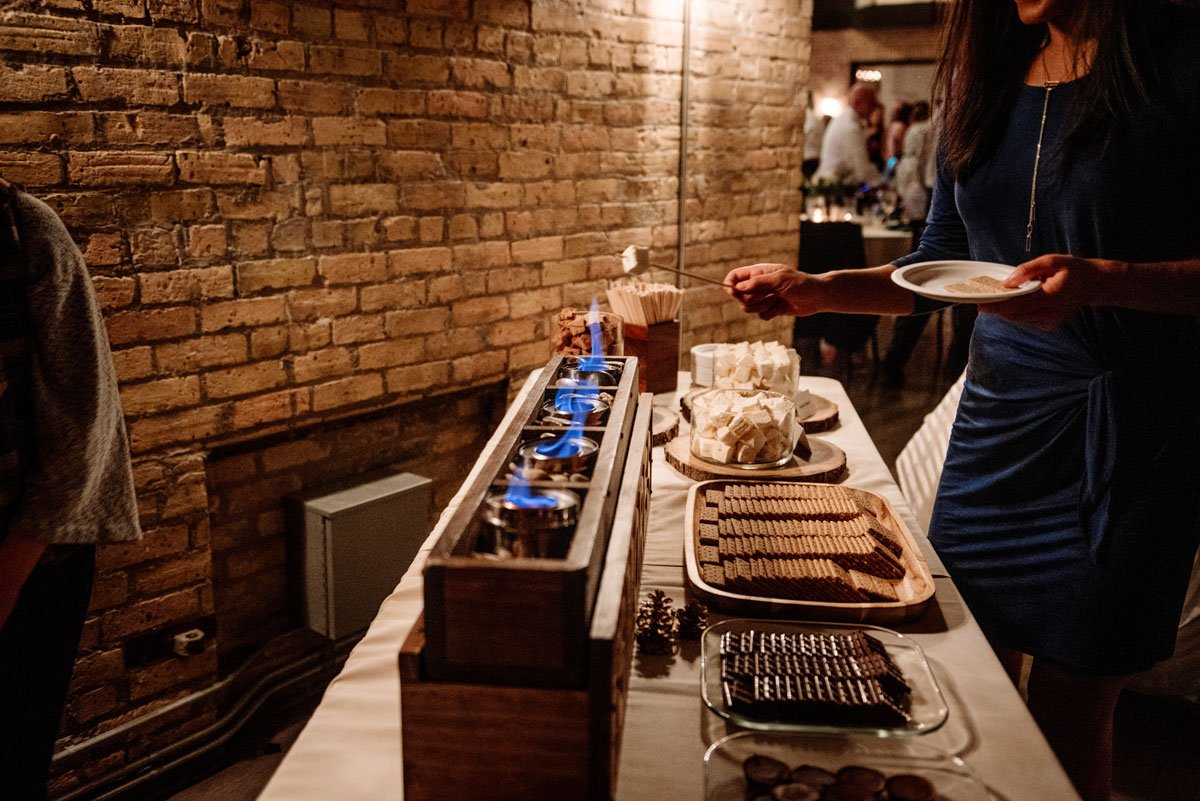 smores bar lumber exchange wedding minneapoils