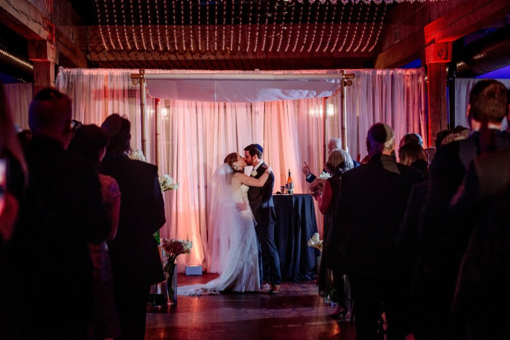first kiss after ceremony new years eve wedding Minneapolis event center