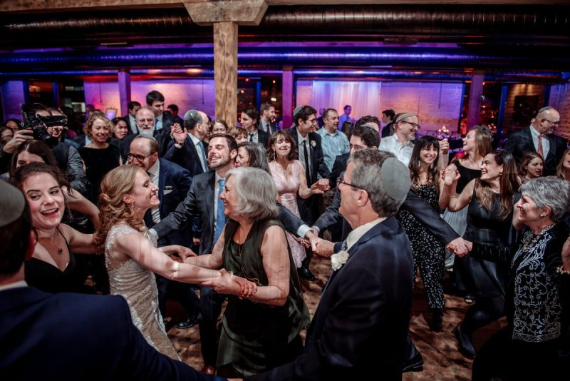 all the guests dancing the hora new years eve wedding Minneapolis event center