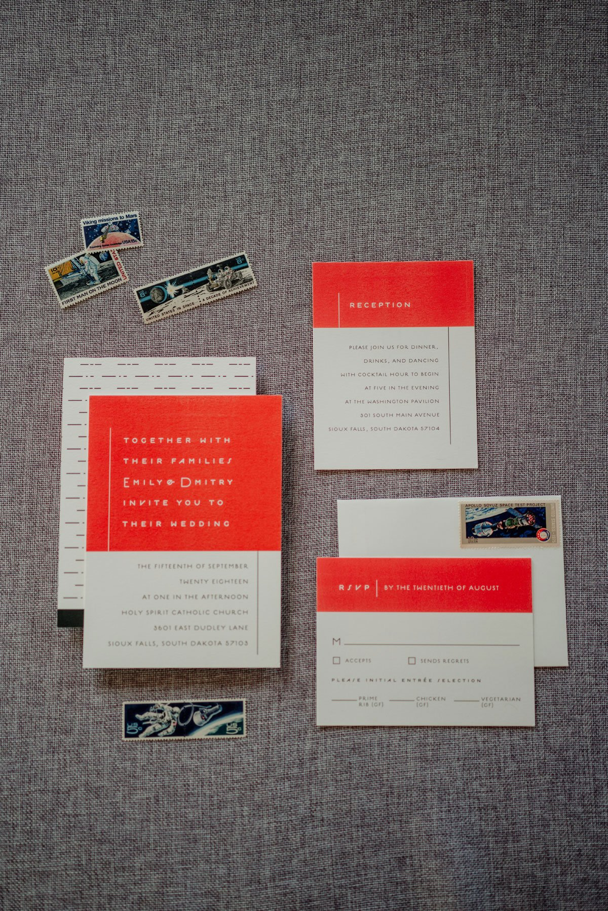 cold war era stamps and space raced themed invitation set