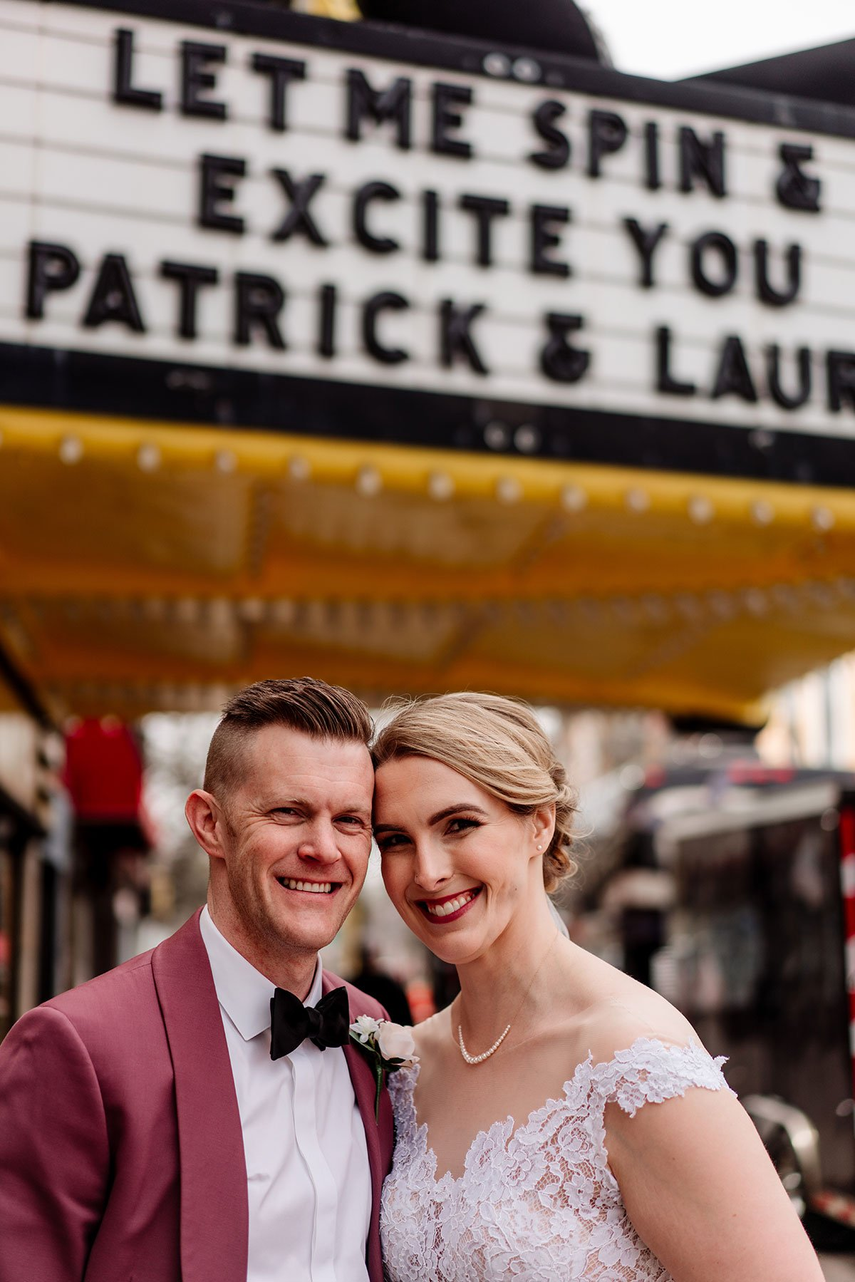 portrait of bride and groom under marquee for loring restaurant wedding minneapolis