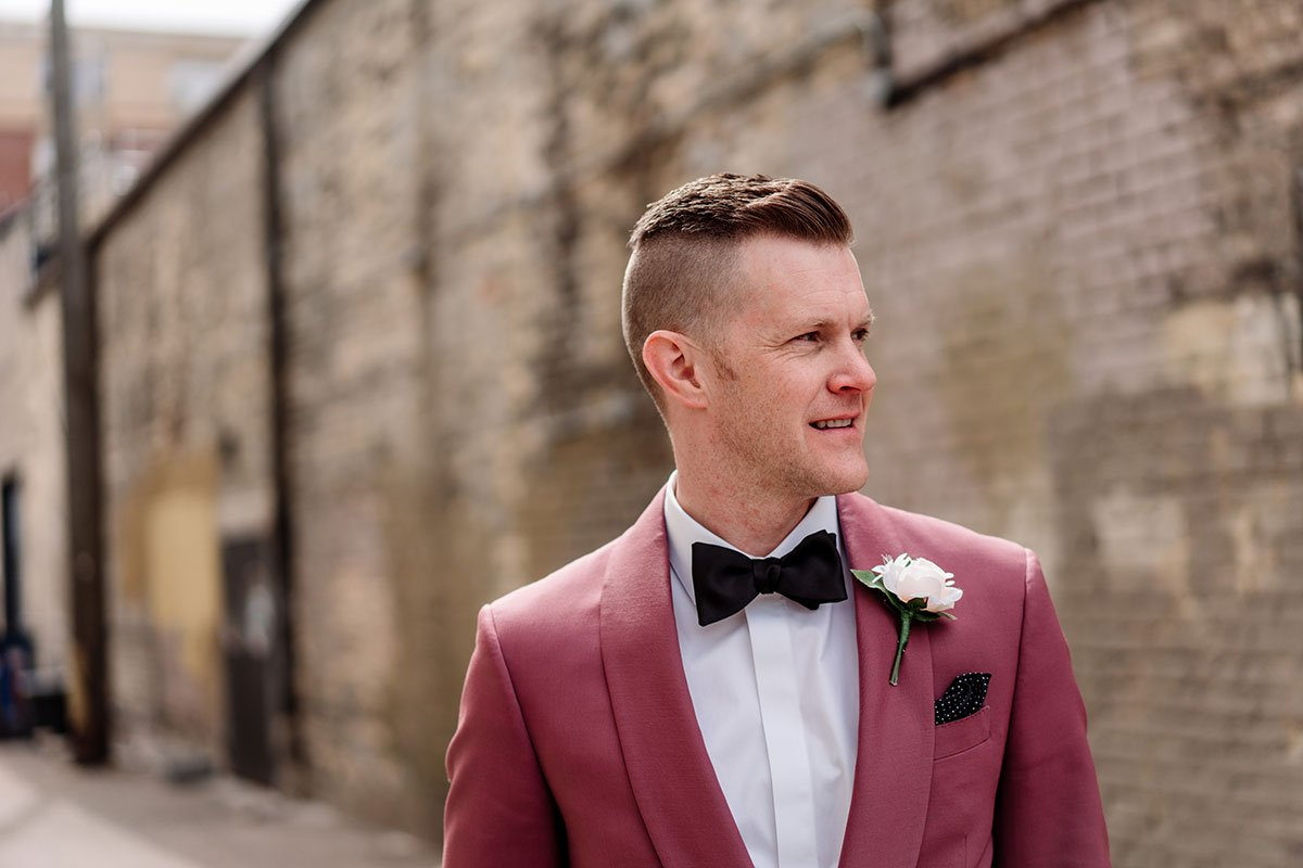 groom wearing maroon tux loring restaurant wedding minneapolis