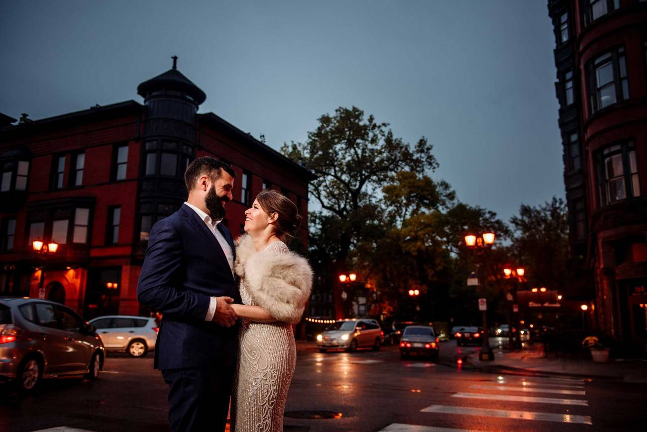 bride and groom outside fitz restaurant st paul for small wedding reception