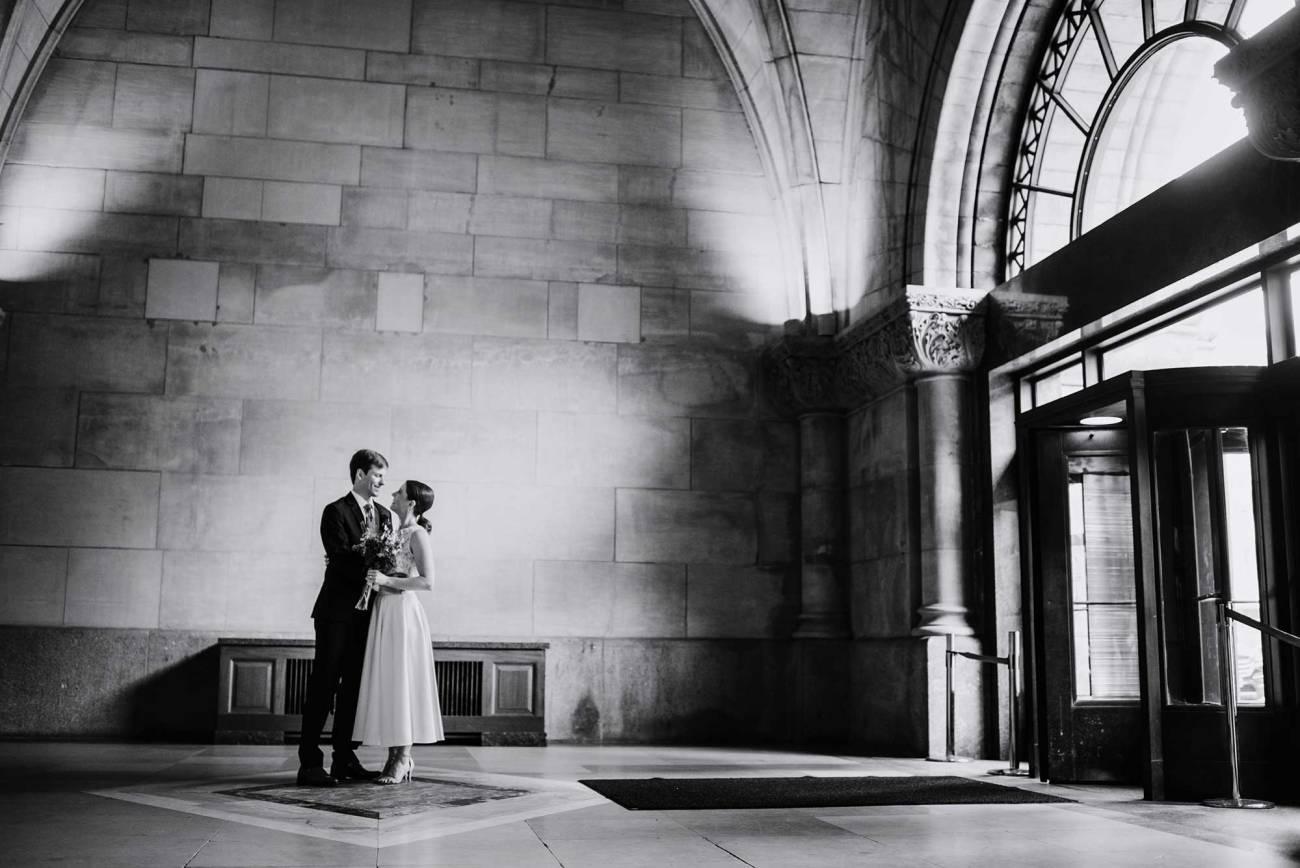 black and white Minneapolis city hall wedding