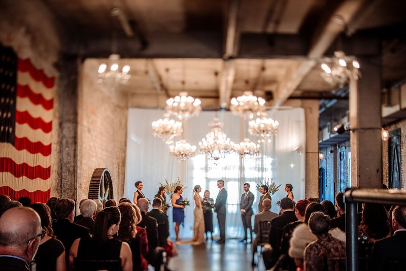 wedding ceremony at foyer space of aria in minneapolis