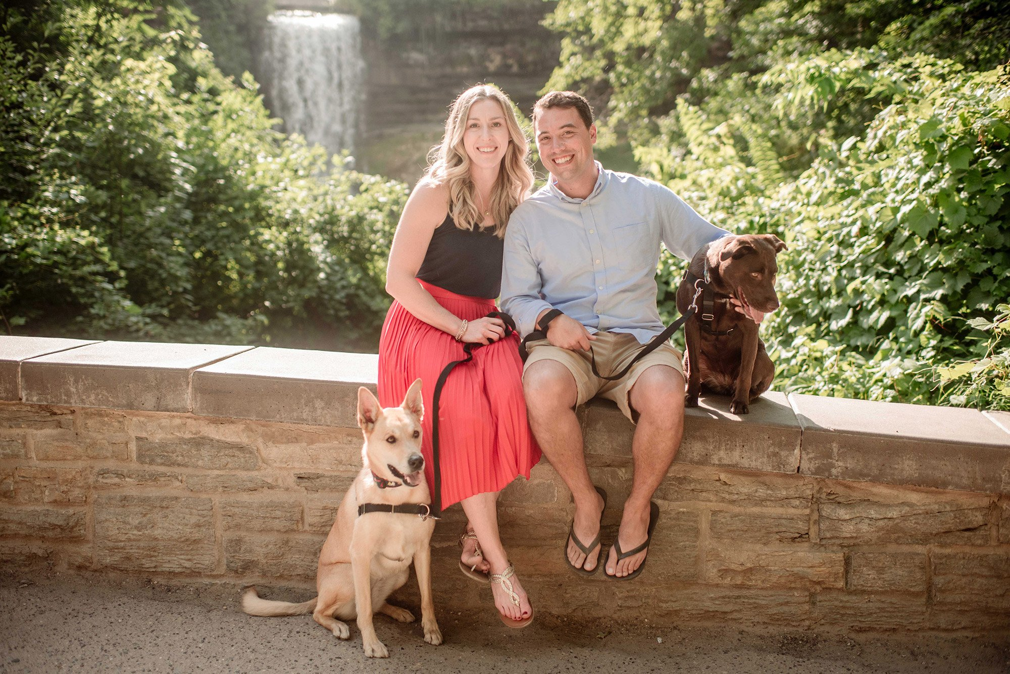 Minnehaha falls family portrait with dogs