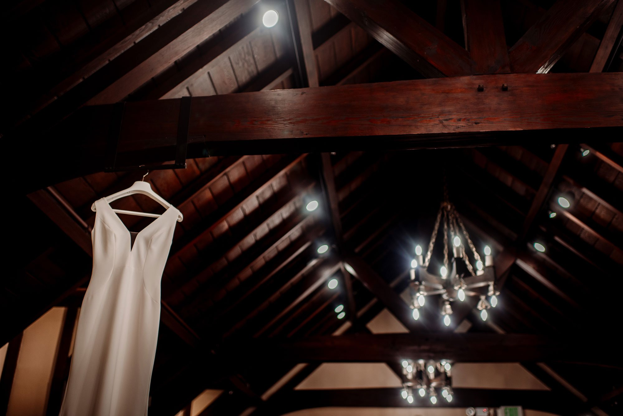 wedding dress hanging at interlachen country club