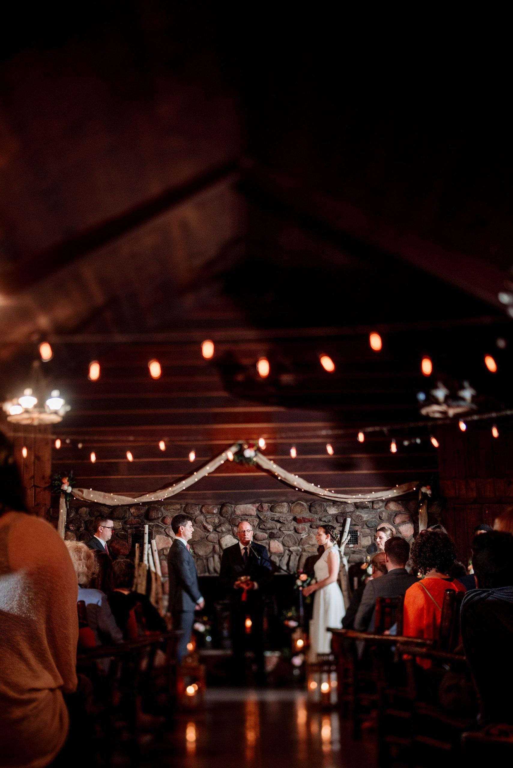 Indoor lodge wedding