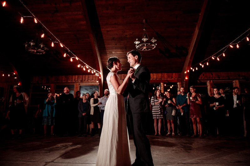 First dance in lodge MN wedding at Camp Miller