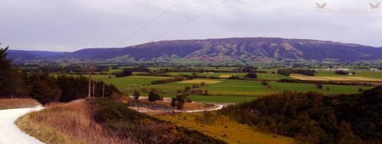 View of Maukaatua (Maungatua), The Taieri Plains and The Dunedin International Airport from Mclaren Gully Road, Brighton, New Zealand.