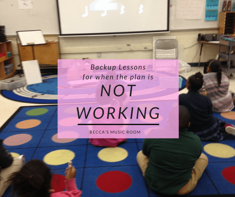 Backup Lessons for When the Plan is not working-- Because sometimes, it just is not going to happen. Ideas that you can use with all of your grades. Keep a few in your back pocket to help you out on teaching days that are difficult. (As opposed to the easy ones?) Becca's Music Room