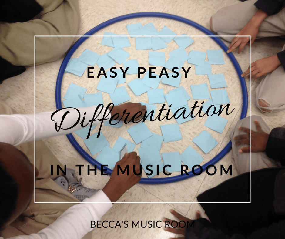 Easy-Peasy Differentiation in the Music Room: Think you can't differentiate because you teach music? Think differentiation is only ok in centers? Think again! Here are some RIDICULOUSLY easy ideas to differentiate in your class-- that you may already be doing! Becca's Music Room