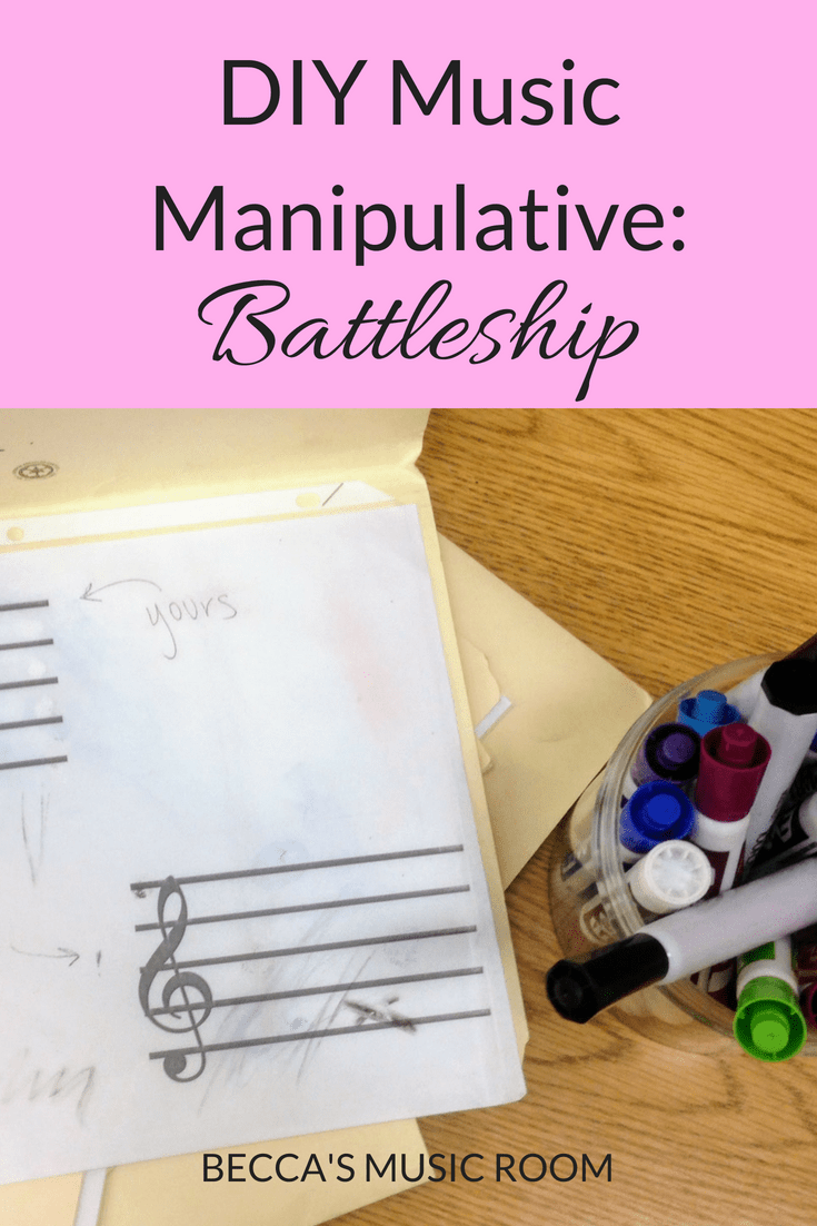 DIY Music Manipulative: Battleship. This board game based teaching tool is great for upper elementary or middle school students who are learning about the treble clef. It can be adjusted for different lessons. My upper elementary music classes loved it! And it is super CHEAP. Becca's Music Room.