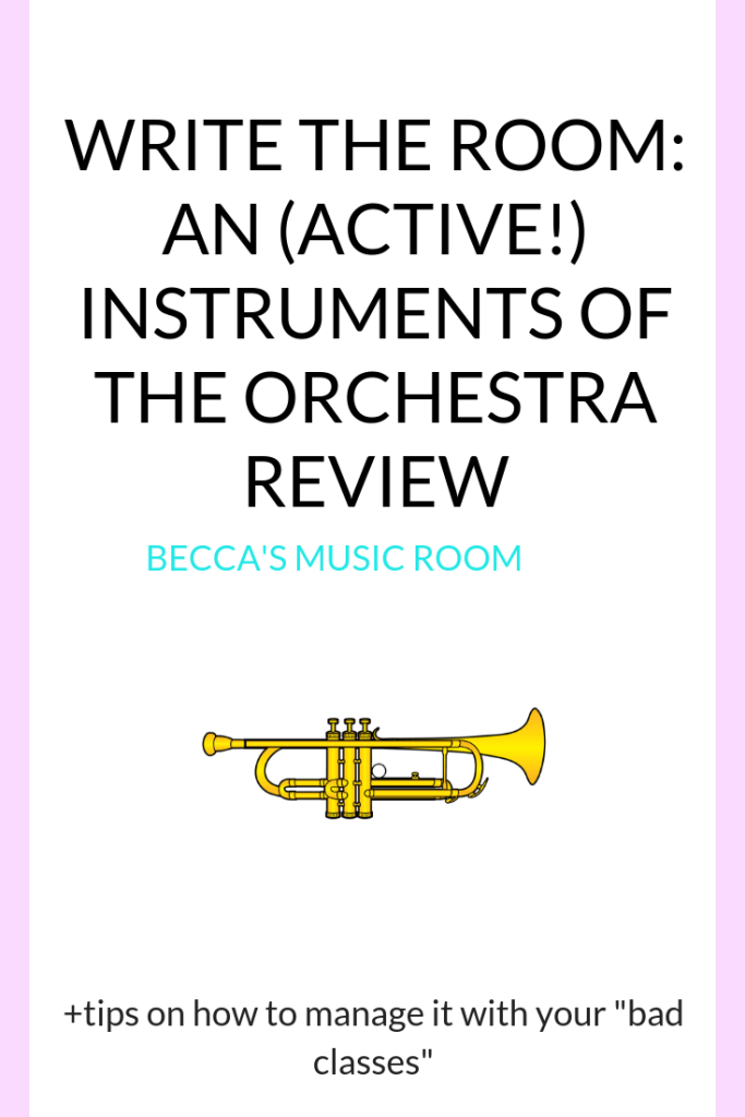 "Write the Room: an active instruments of the orchestra review.. or pretest! PLUS tips on how to make this work with your ""bad classes"" GREAT for elementary music class! Becca's Music Room"