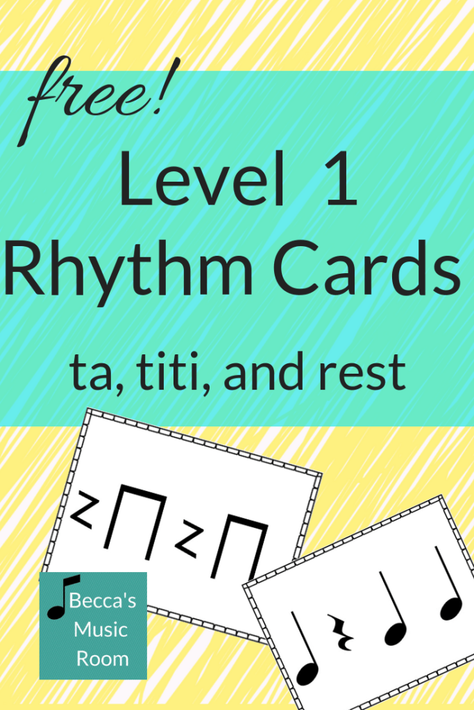 FREE set of level 1 rhythm cards here! Perfect for teaching kindergarten, first grade or second grade. Available in stick notation and regular notation to accommodate Koday, Orff, Dalcroze, and Music Learning Theory inspired teachers! Becca's Music Room
