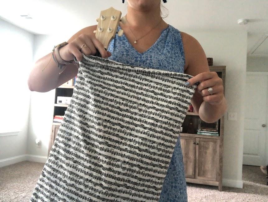 Sheet music print soprano ukulele bag by Becca's Music Room