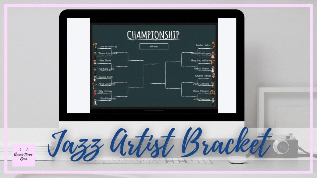 Jazz artist music bracket for elementary music lessons
