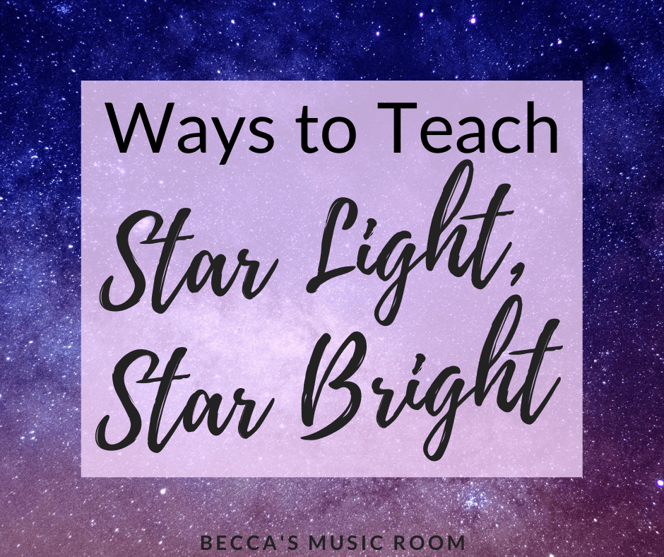 New ways to teach sol and mi with the folk song Star Light, Star Bright in elementary music. This song is perfect for kindergarten , first grade, and even second grade general music lessons. Becca's Music Room