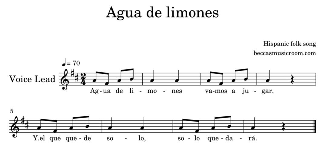 Agua de limones Columbian folk song on Becca's Music Room